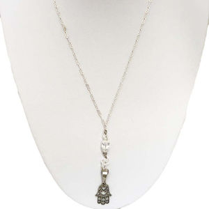 Hamsa Hand with Crystal Beads Sterling Silver Neck